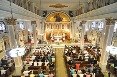 The old Saint Joseph Church in its splendor at one of the last feasts celebrated in the Church