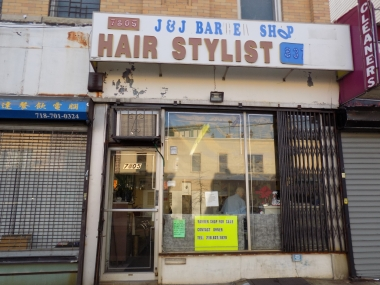 The outside of J&J Barbershop