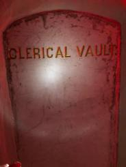 A clerical vault containing the remains of an unnamed priest. It was common practice for priests' burial cites to not have the name of the interred.